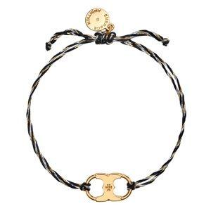 TORY BURCH • Embrace Ambition Braided Black Gold Slider Bracelet